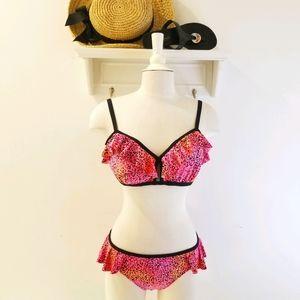 Coco Rave Hot Pink Leopard Print Ruffle Bikini XL
